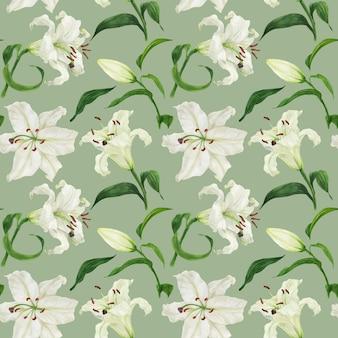 Тропический светло-зеленый бесшовные модели с белой лилией