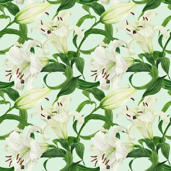 Тропический цветочный бесшовный узор с белой лилией