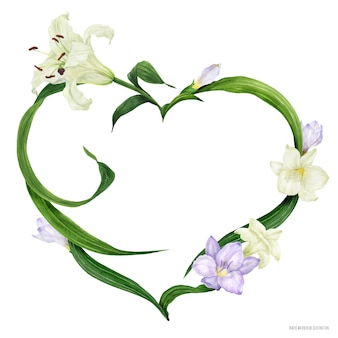 Тропический сердечный венок с белой лилией и фиолетовой фрезией