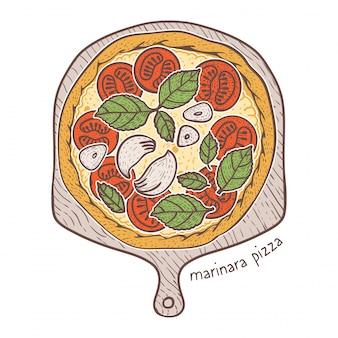 Маринара пицца, зарисовка иллюстрации