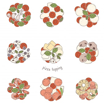 Пицца популярная начинка, зарисовка иллюстрации