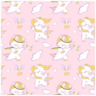 Симпатичные маленькие единороги розовый бесшовные модели