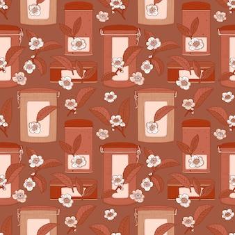 茶花、葉、缶と茶色のシームレスパターン