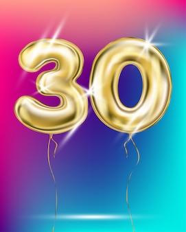 Число тридцать золотой фольги воздушный шар на градиенте