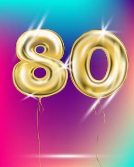Число восемьдесят золотой шар фольги на градиенте