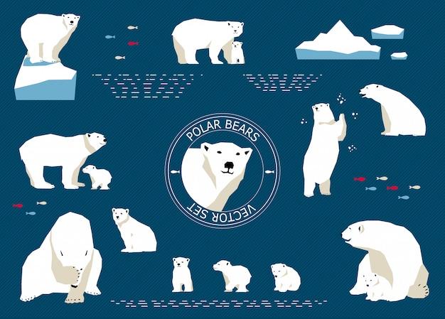 Набор белых медведей