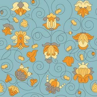 ファインヴィンテージ花柄シームレスパターン