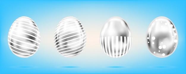 Четыре серебряные яйца на небесно-голубом фоне