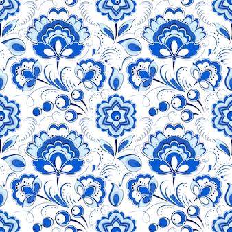 ロシアのカントリースタイルのシームレスな花柄ブルー