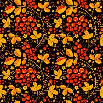 花の民俗伝統の黒のシームレスパターン