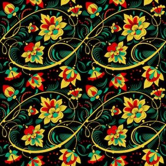 ロシアの伝統的なスタイルでシームレスな花柄