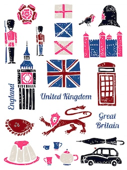 Символы великобритании, векторный набор в стиле лино