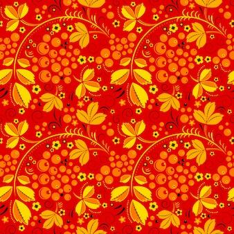 Красный бесшовный узор в цветочной народной традиции