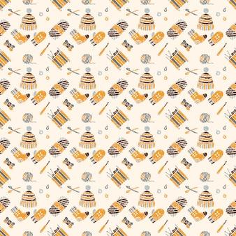 編み物のテーマ、茶色のものにシームレスパターン