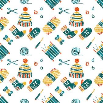 編み物テーマ、物事のシームレスパターン
