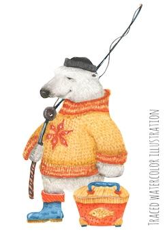 Белый медведь фишер в норвежском свитере