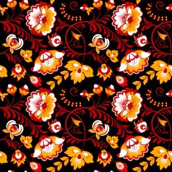 Славянский цветочный бесшовный узор