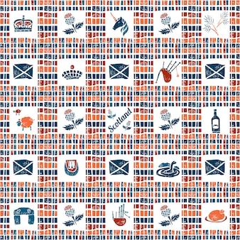 格子縞の生地のシームレスなパターン、大きなスコットランドセット