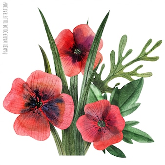ポピーと草の水彩画のブートニア