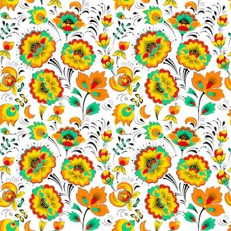 Цветочный бесшовный узор в славянском стиле