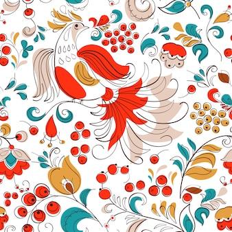 火の鳥とロシアのファンタジースタイルのスグリ