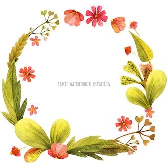 草原の野生植物の花輪