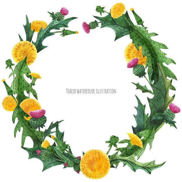 アザミとタンポポの装飾のための花輪