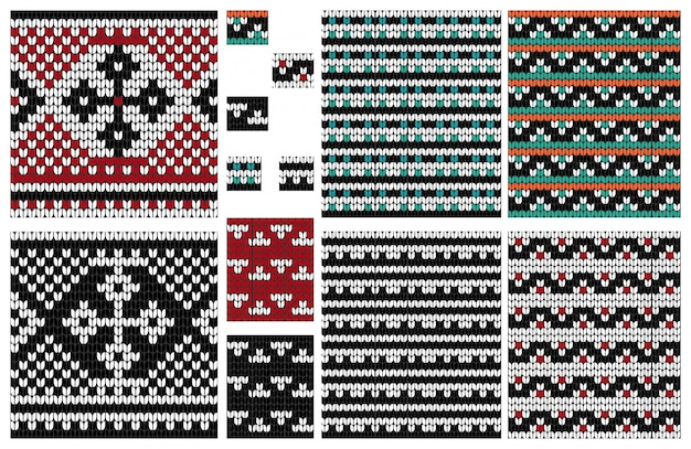 クロスと編み物シームレスパターンのセット