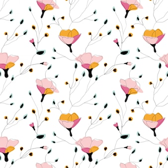 Бесшовный узор из полевых цветов на белом фоне