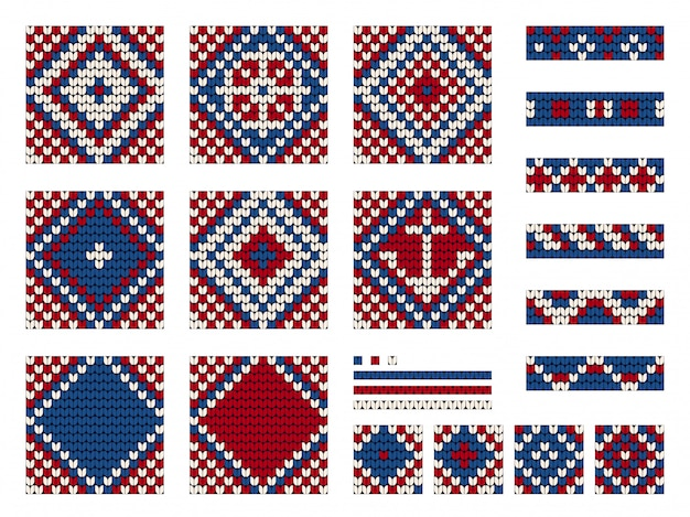 シームレスパターンを編むおばあちゃん海洋ベクトルのセット