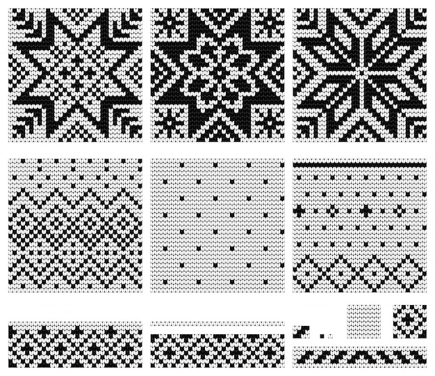 ノルウェーの星編み物パターンのセット