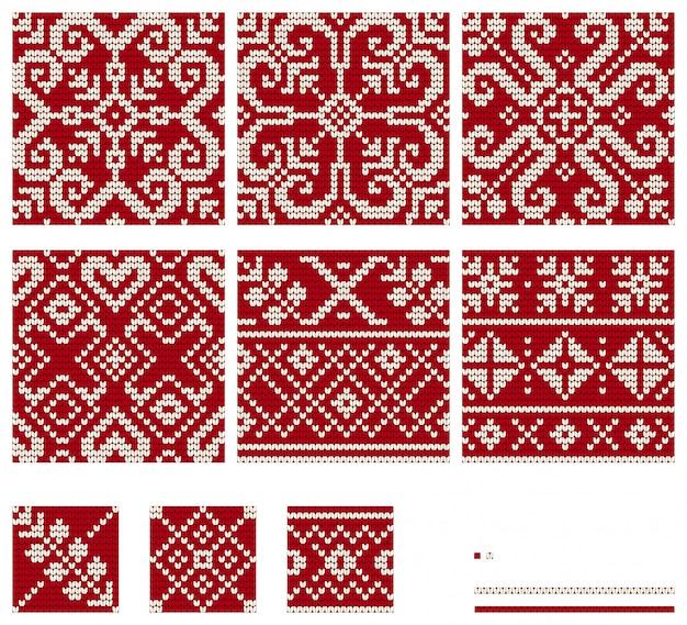 バルトスターニットパターンのセット、シームレスなパターンベクトル