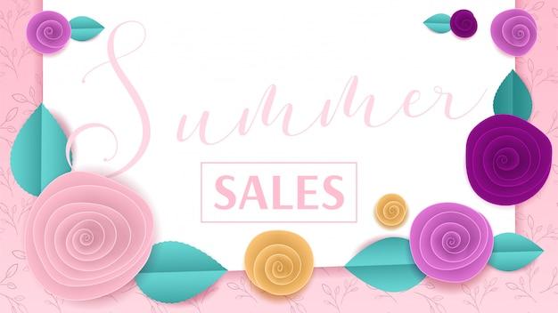 Вырезать из бумаги цветочный баннер летние распродажи