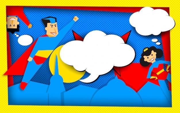 空の泡とレトロなハーフトーン技術のスーパーヒーロー