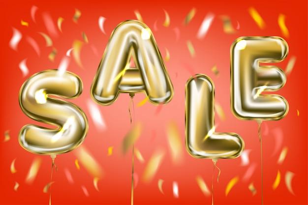 Распродажа надписей воздушными шарами из металлической фольги в красном воздухе