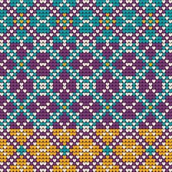 ミントとラベンダー色のおばあちゃんのクリスマス編み物パターン