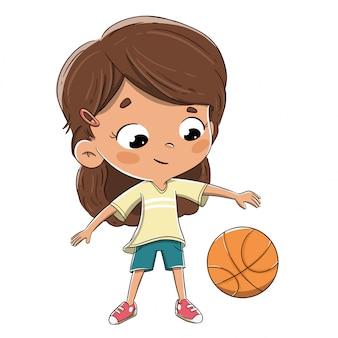 小さな女の子がバスケットボールをして