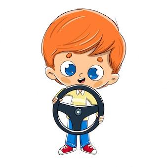 彼の手の運転でステアリングホイールを持つ少年