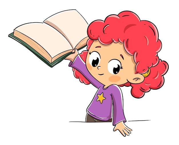 開いた本を示す少女