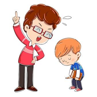 怒っている父親が息子と議論