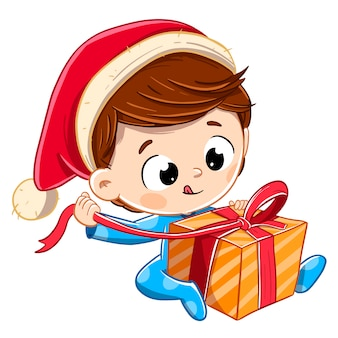 サンタクロースの帽子でクリスマスプレゼントを開く