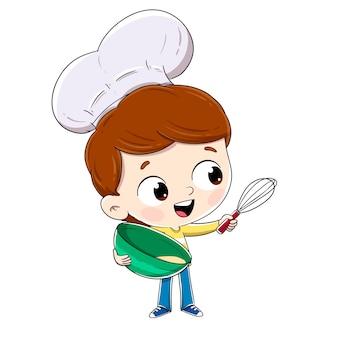 シェフの帽子で料理をしている少年。いくつかのペストリーを準備します。