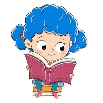 Девушка читает сидя на кучу книг