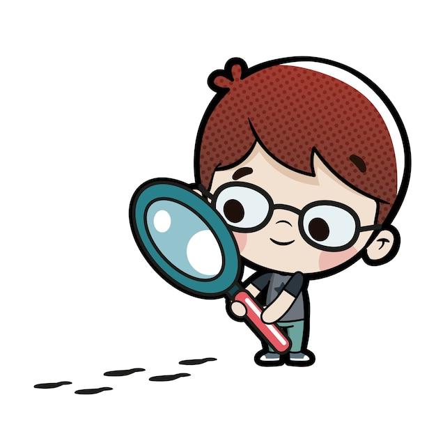 いくつかの足跡に続く虫眼鏡を持つ子供