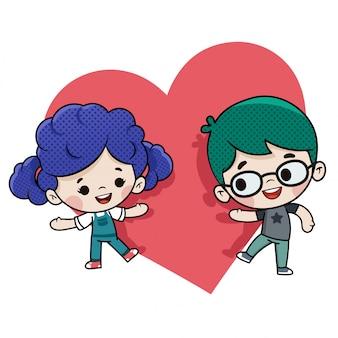 バレンタインの日に愛のカップル