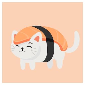 寿司、日本の寿司、サーモンの寿司でかわいい子猫。