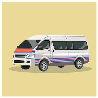 タイのバン、ミニバン、バンコクの交通機関のベクトル。