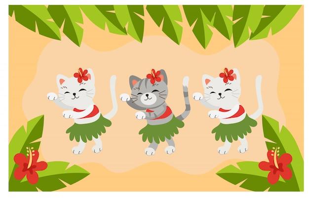 ハワイアンダンスを踊る猫