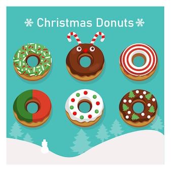 Набор разнообразных красочных пончиков в рождественской теме.