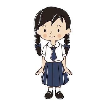 学生制服イラストのタイの女の子。